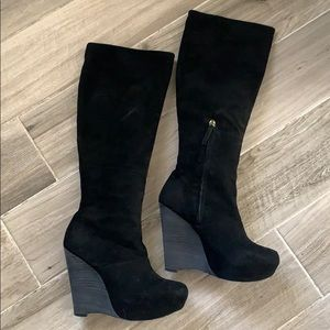 "L.A.M.B. ""Poppy"" Knee High Wedge Suede Boots"
